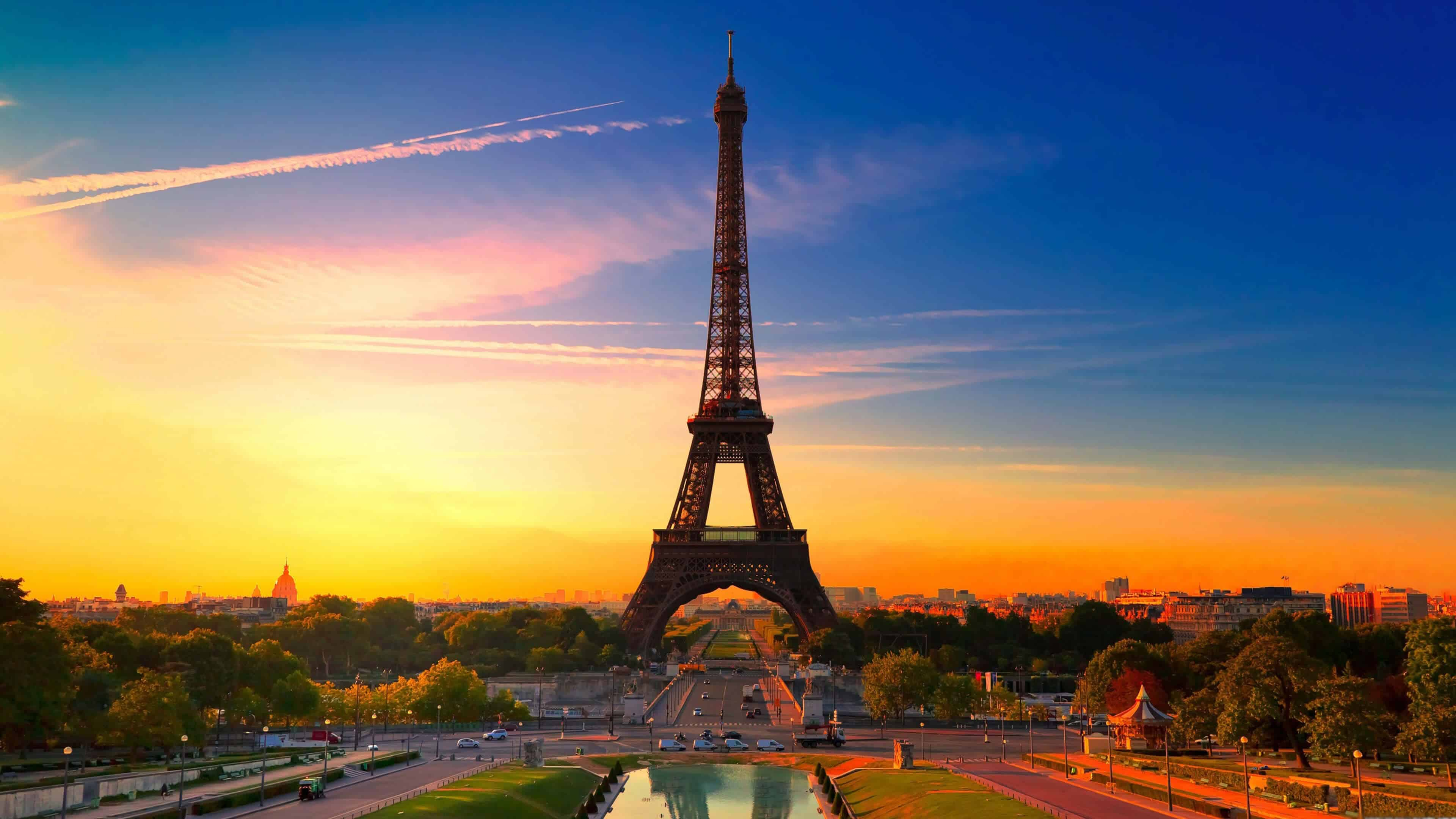 eiffel tower at sunset paris france uhd 4k wallpaper | pixelz