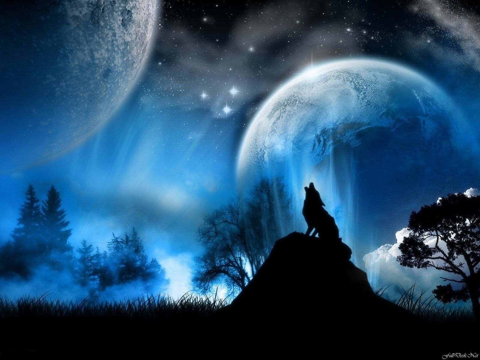 fantasy wolf planet blue stars moon a dreamy world wallpaper