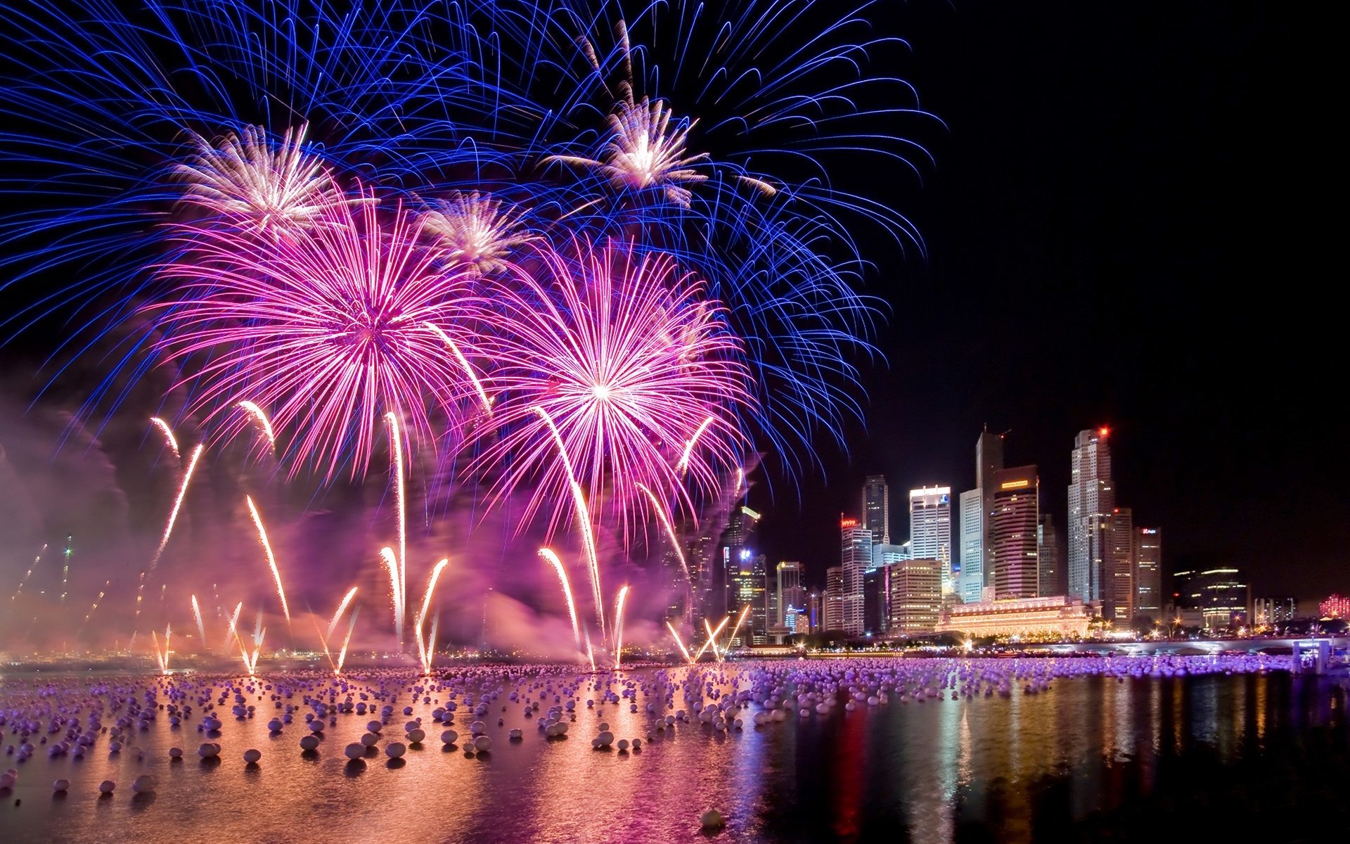 fireworks on new year's eve, singapore full hd wallpaper and