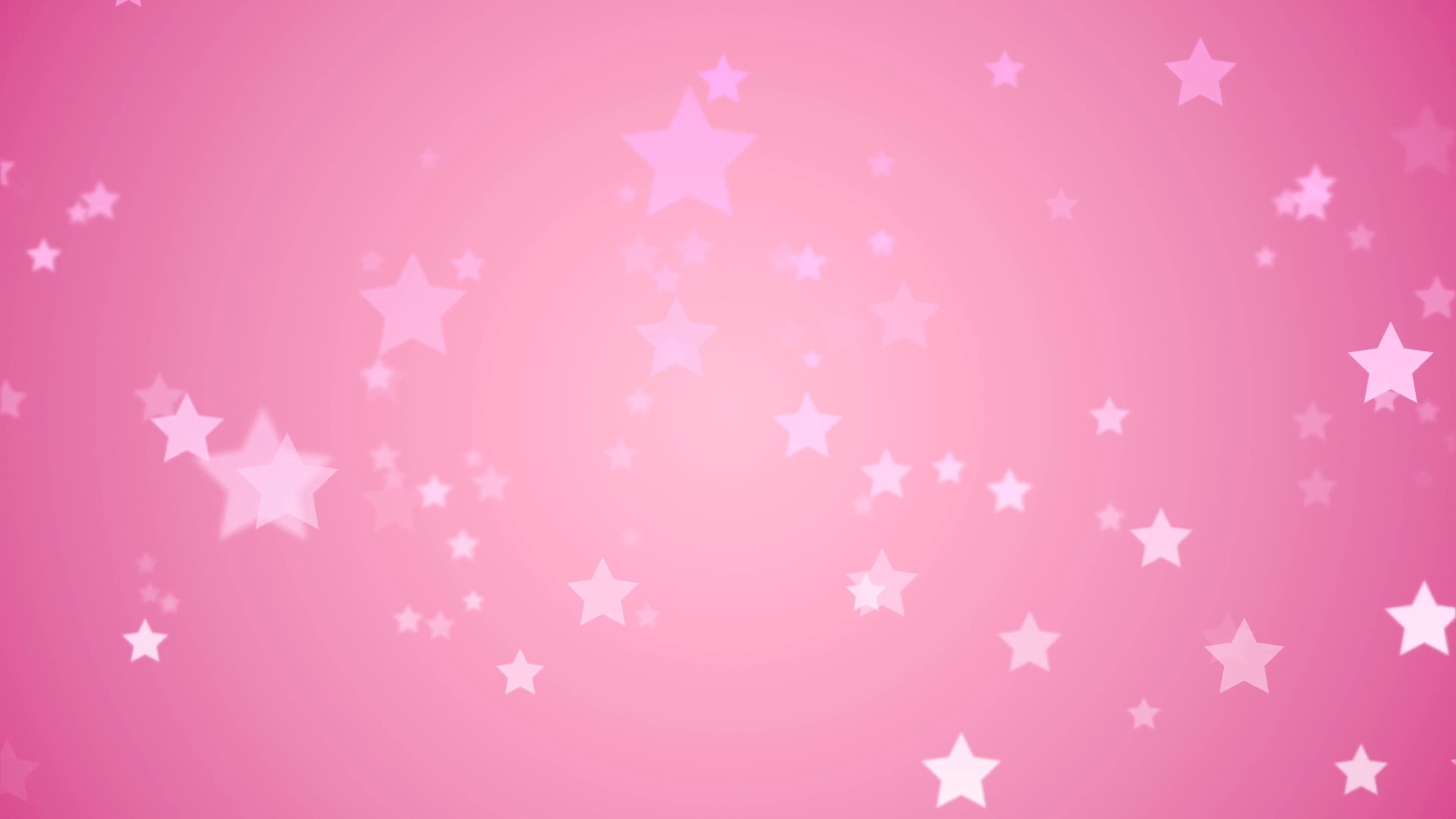 floating light pink stars fade in and out against a pink backdrop