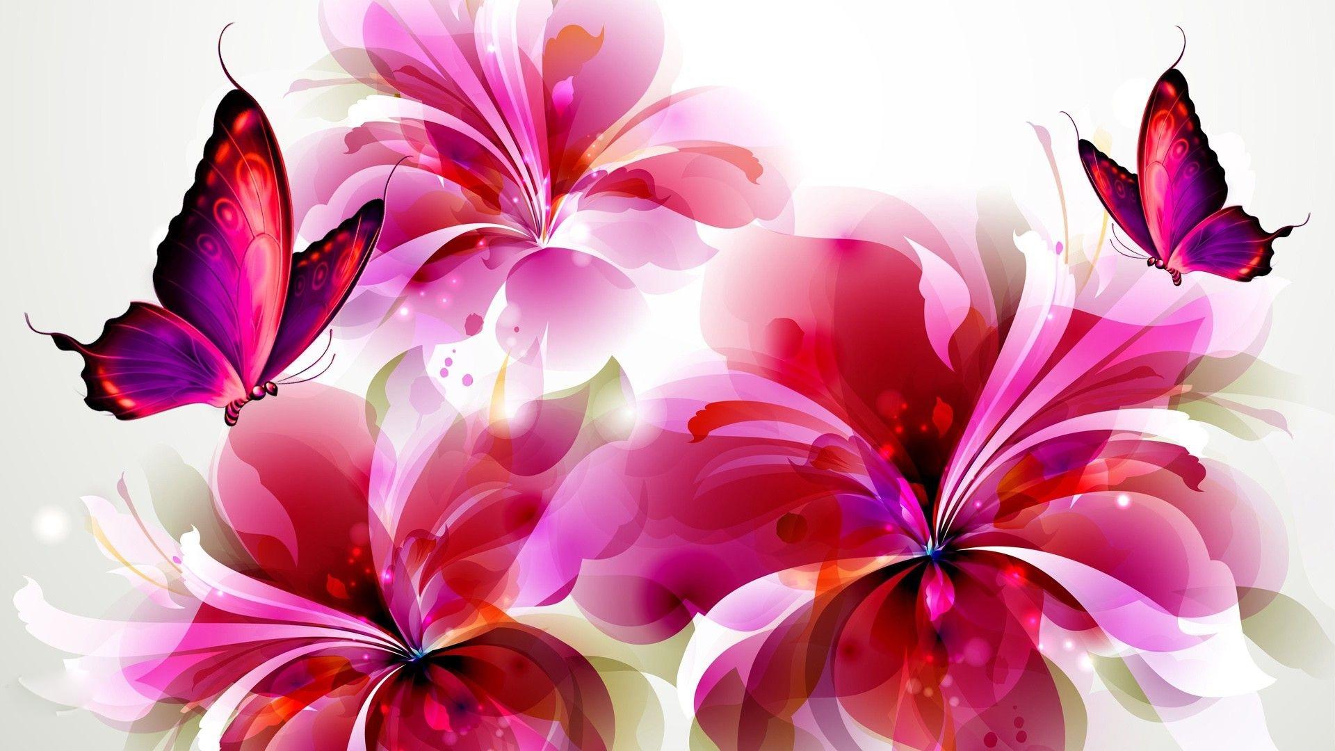 flower with butterfly wallpaper | hd desktop background