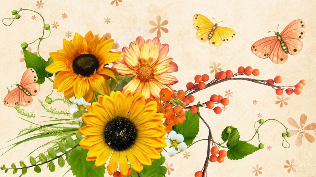 10 New Fall Flowers Desktop Backgrounds FULL HD 1080p For PC Background 2018 free download flowers yellow berries peach butterflies shasta papillon fall 1024x576