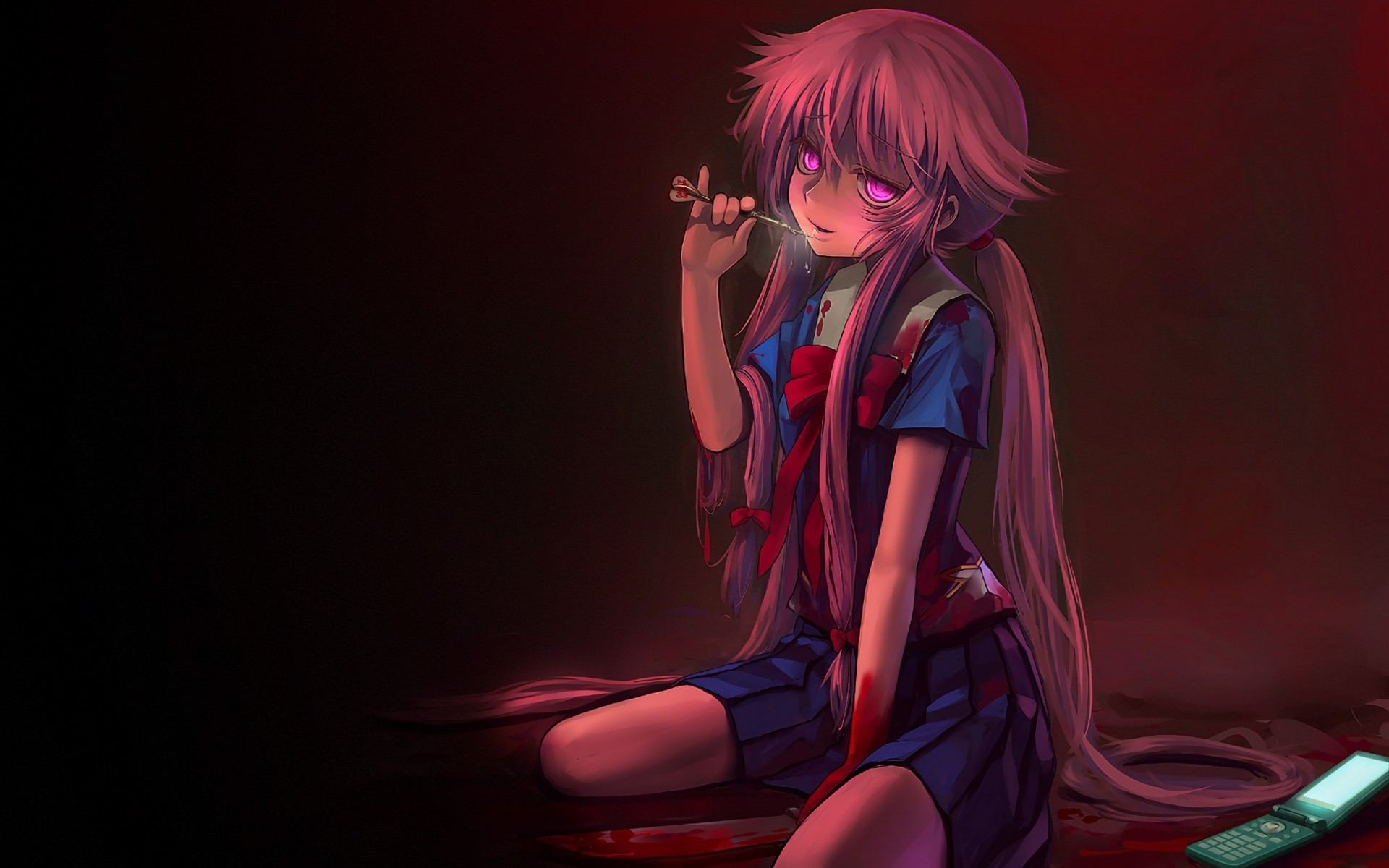 fond d'écran : anime, filles anime, du sang, mirai nikki, gasai yuno
