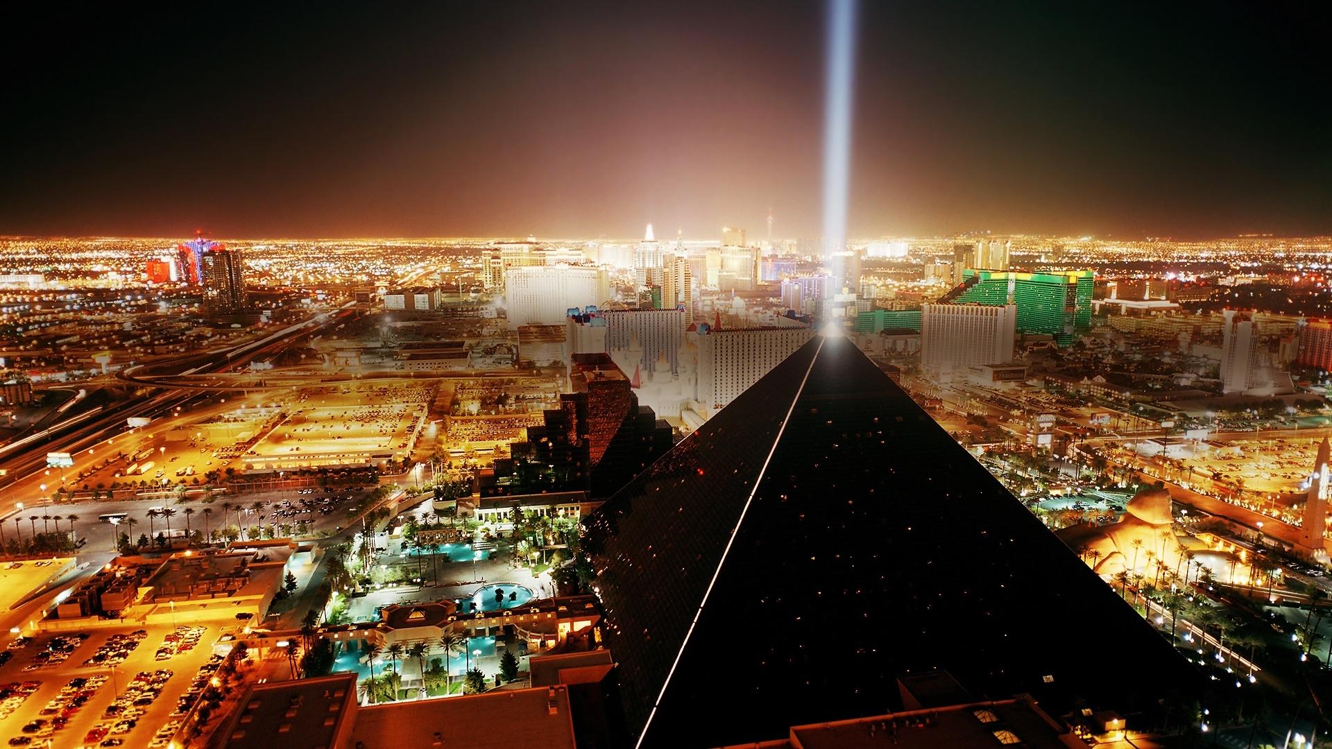 fond d'écran hd las vegas pyramide rétro-éclairage vue aérienne