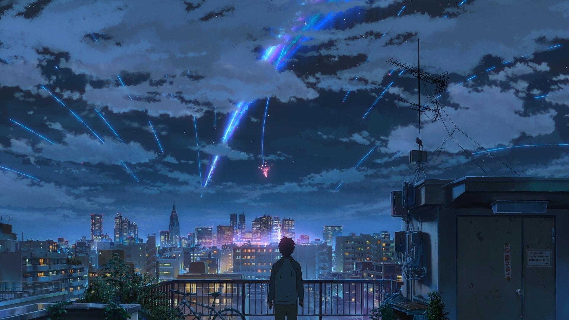 fond d'écran : kimi no na wa, makoto shinkai, nuit étoilée, comète