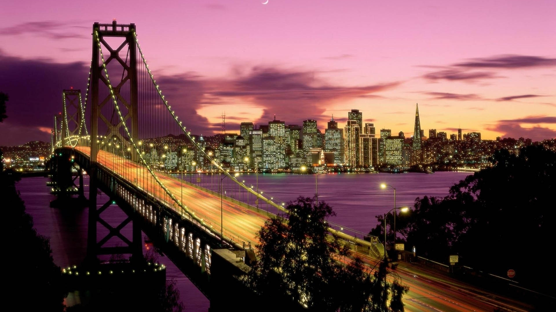 fond d'écran : san francisco, bay bridge, pont, nuit, grattes ciels