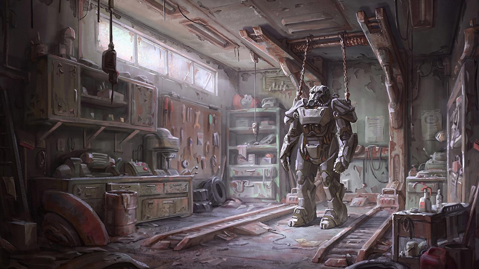 fonds d'ecran 1600x900 guerrier fallout 4 garage armure jeux fantasy
