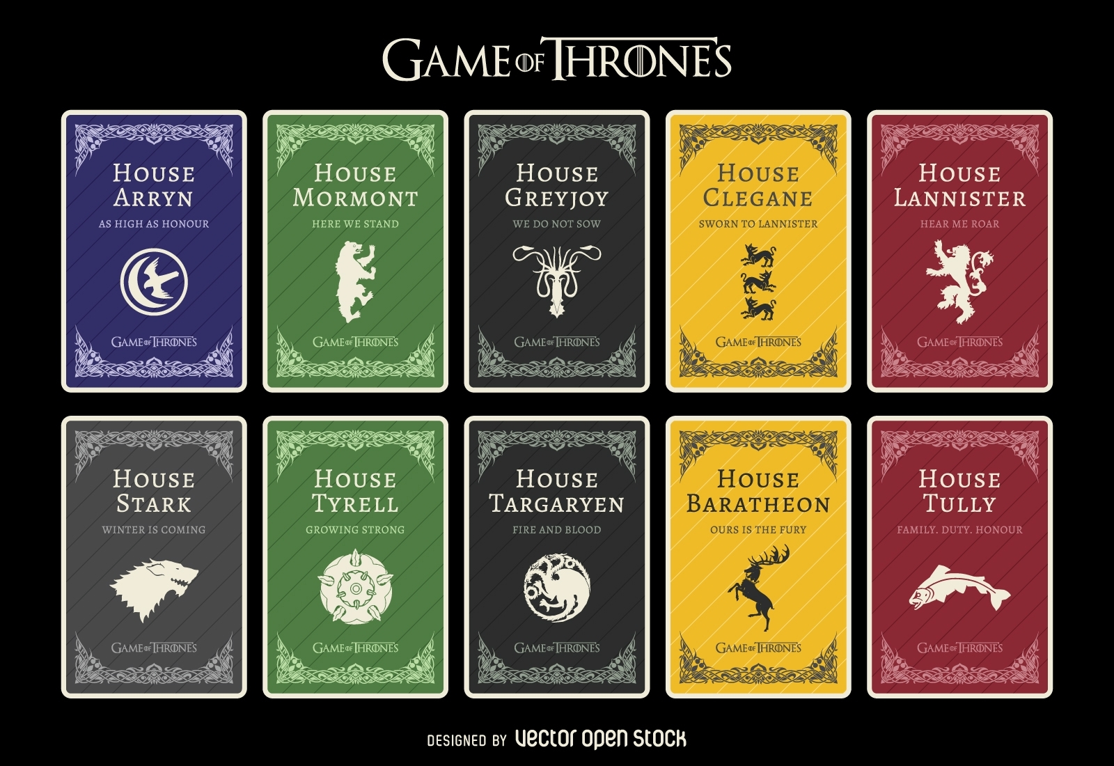 game of thrones houses - vector download