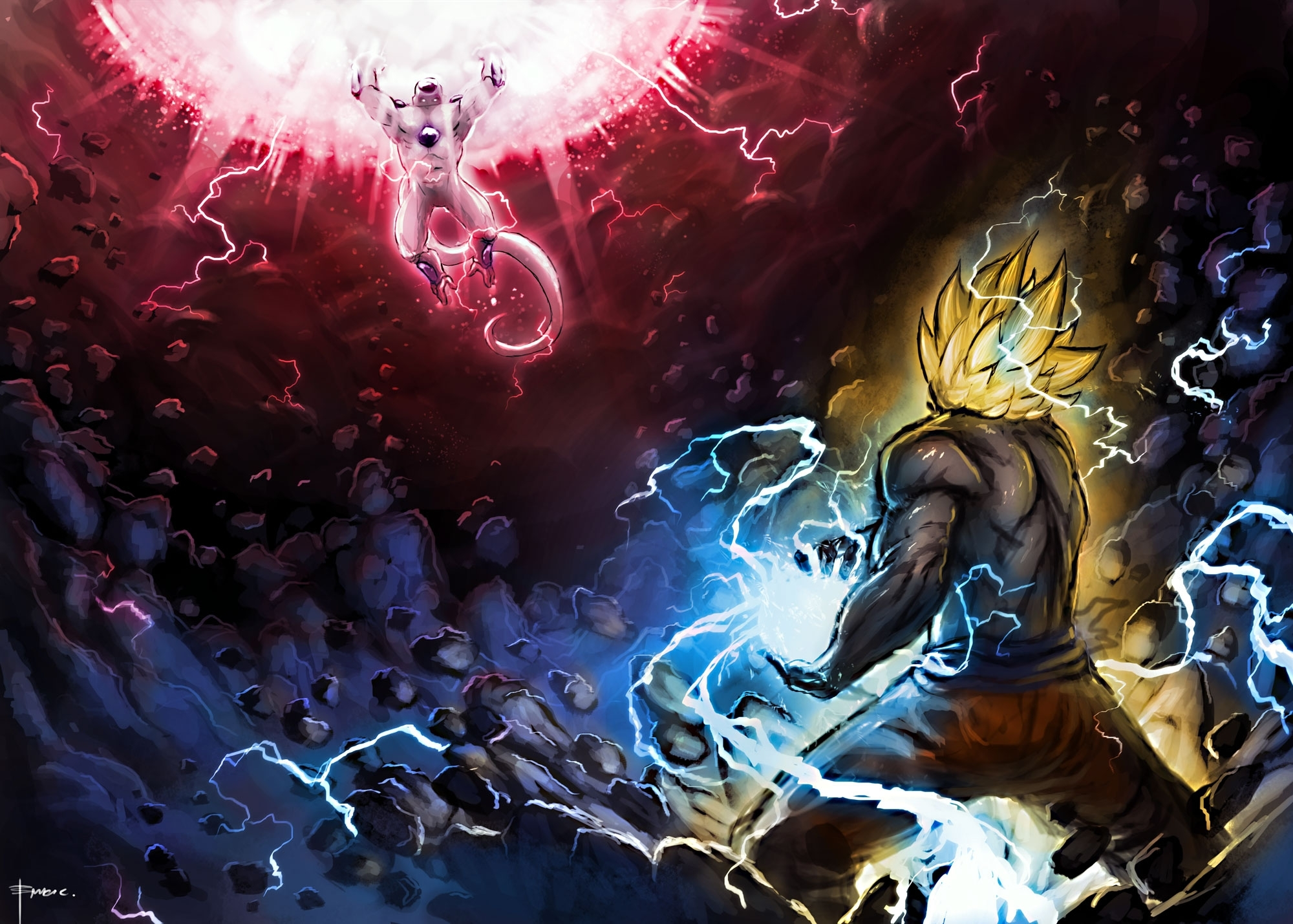goku vs. frieza full hd wallpaper and background image | 2000x1429
