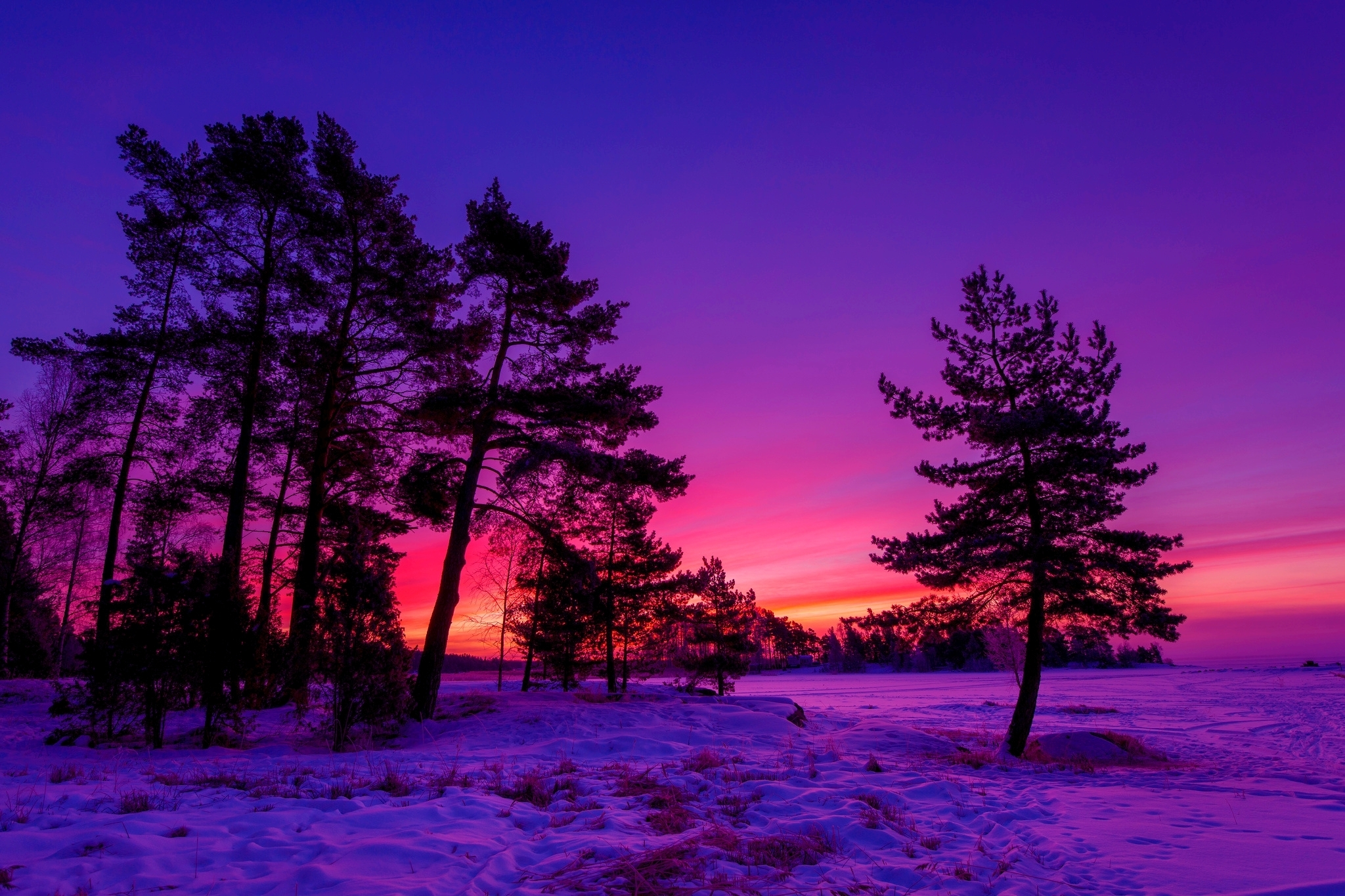 hd awesome winter sunset desktop wallpapers - hd free wallpaper