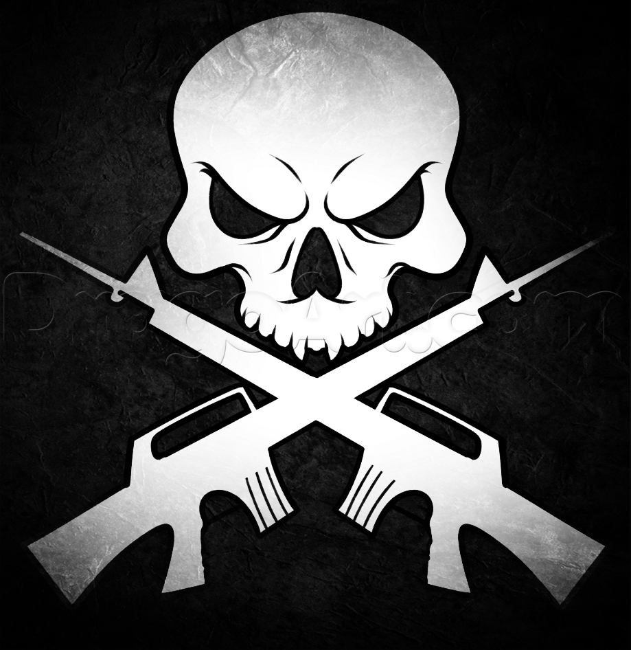 how to draw skull and guns, stepstep, skulls, pop culture