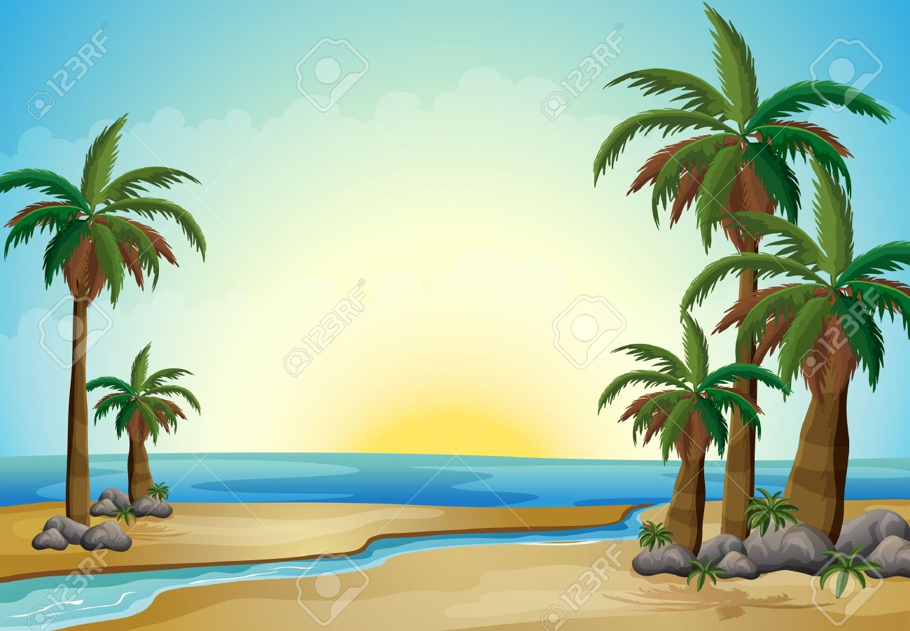 illustration of the palm trees at the beach royalty free cliparts