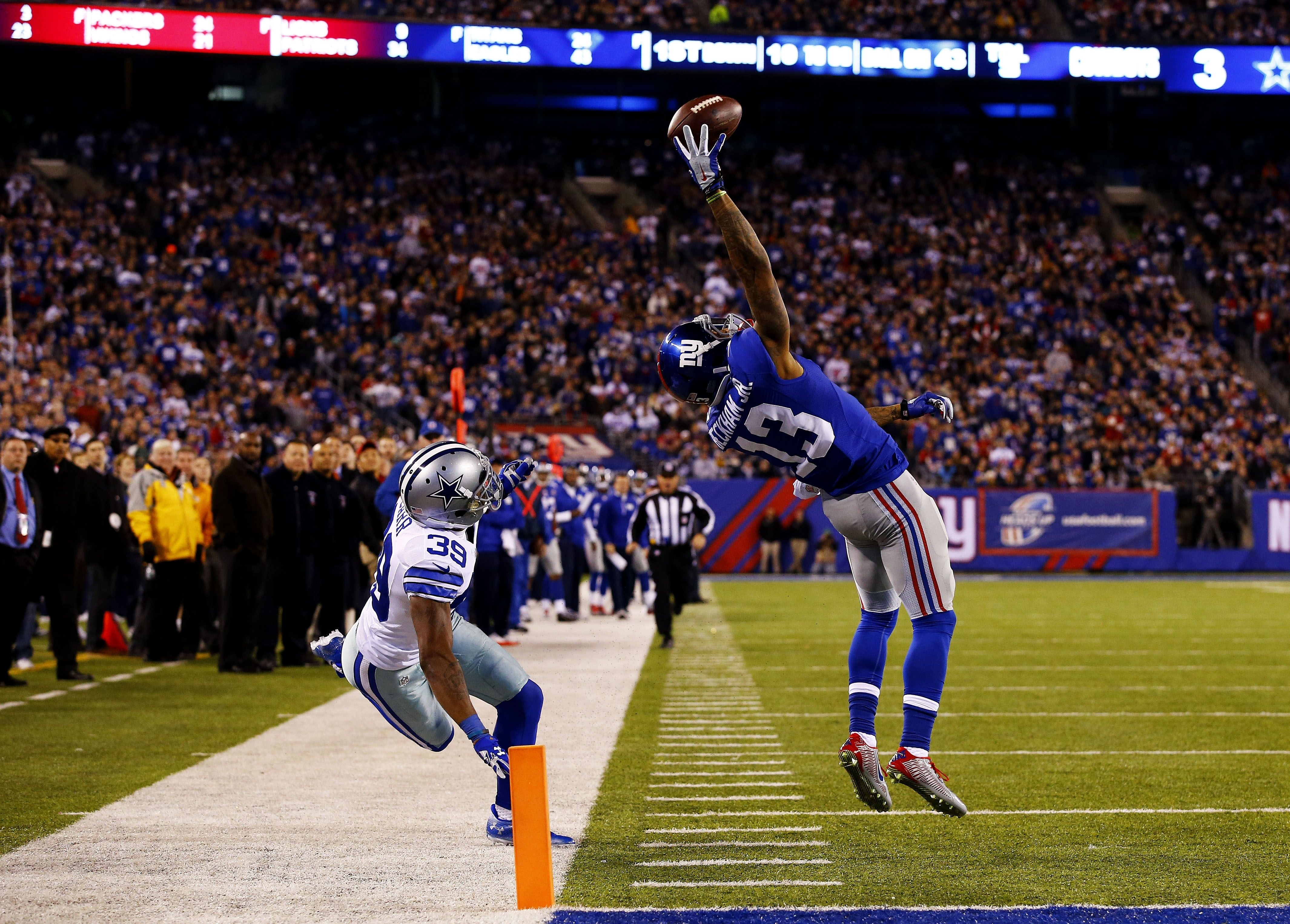 it sure looks like odell beckham jr. made that catch with three