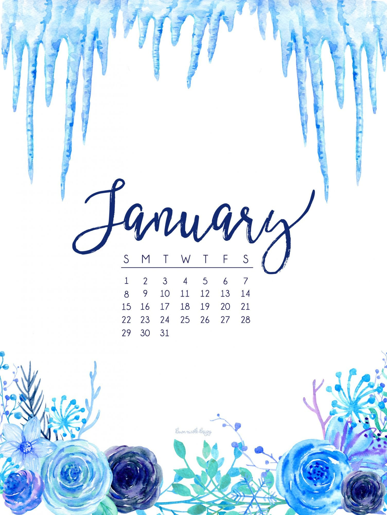 january 2017 calendar + tech pretties | dawn nicole designs®