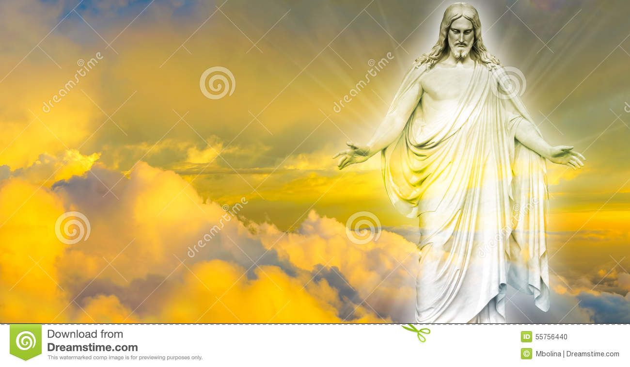 jesus christ in heaven panoramic image stock photo - image of