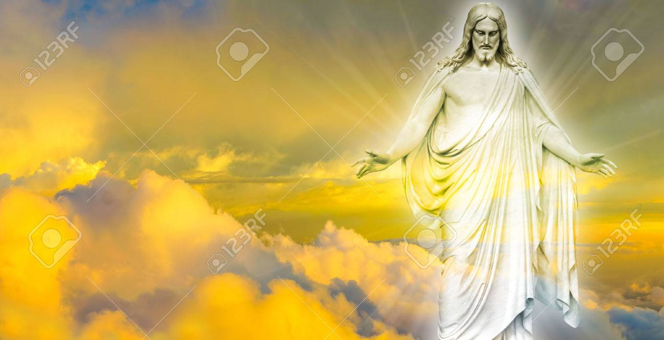 jesus christ in heaven religion concept stock photo, picture and