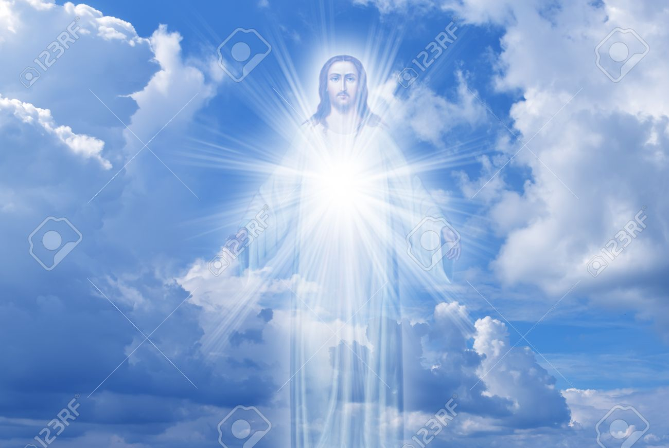 jesus christ in sky with clouds heaven stock photo, picture and