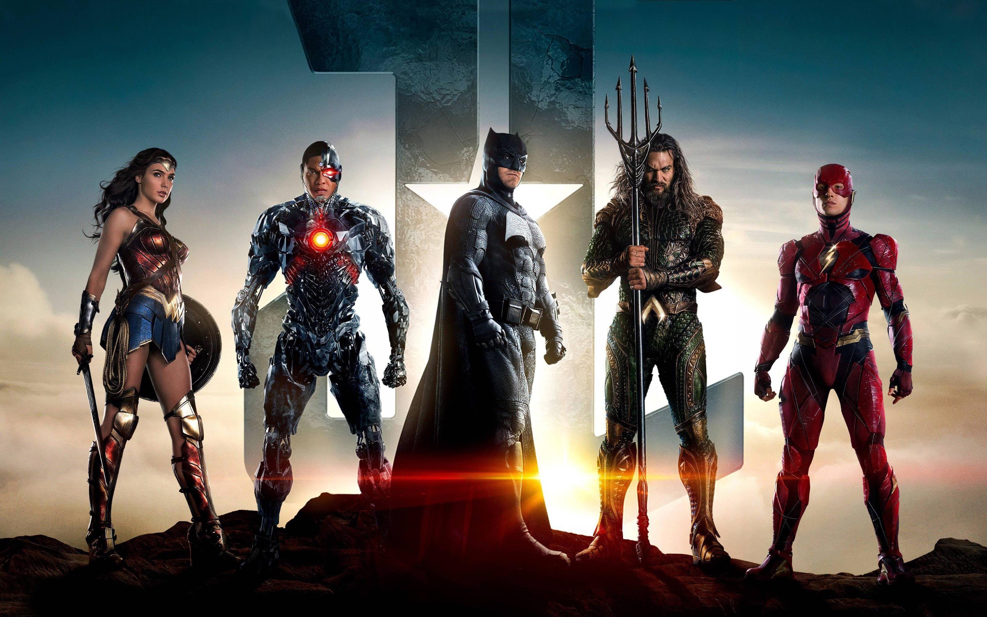 justice league batman aquaman flash cyborg wonder woman 4k, hd