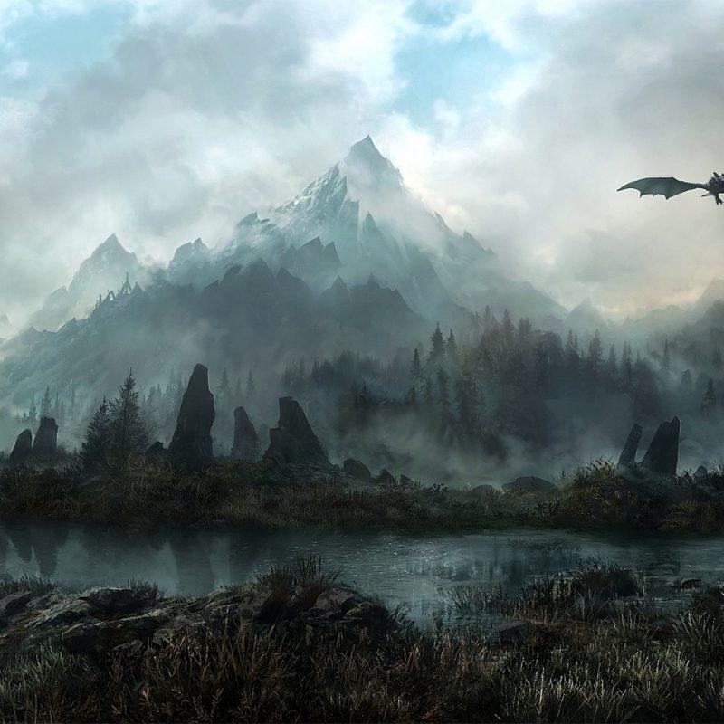 10 New Skyrim Landscape Wallpaper Dragon FULL HD 1080p For