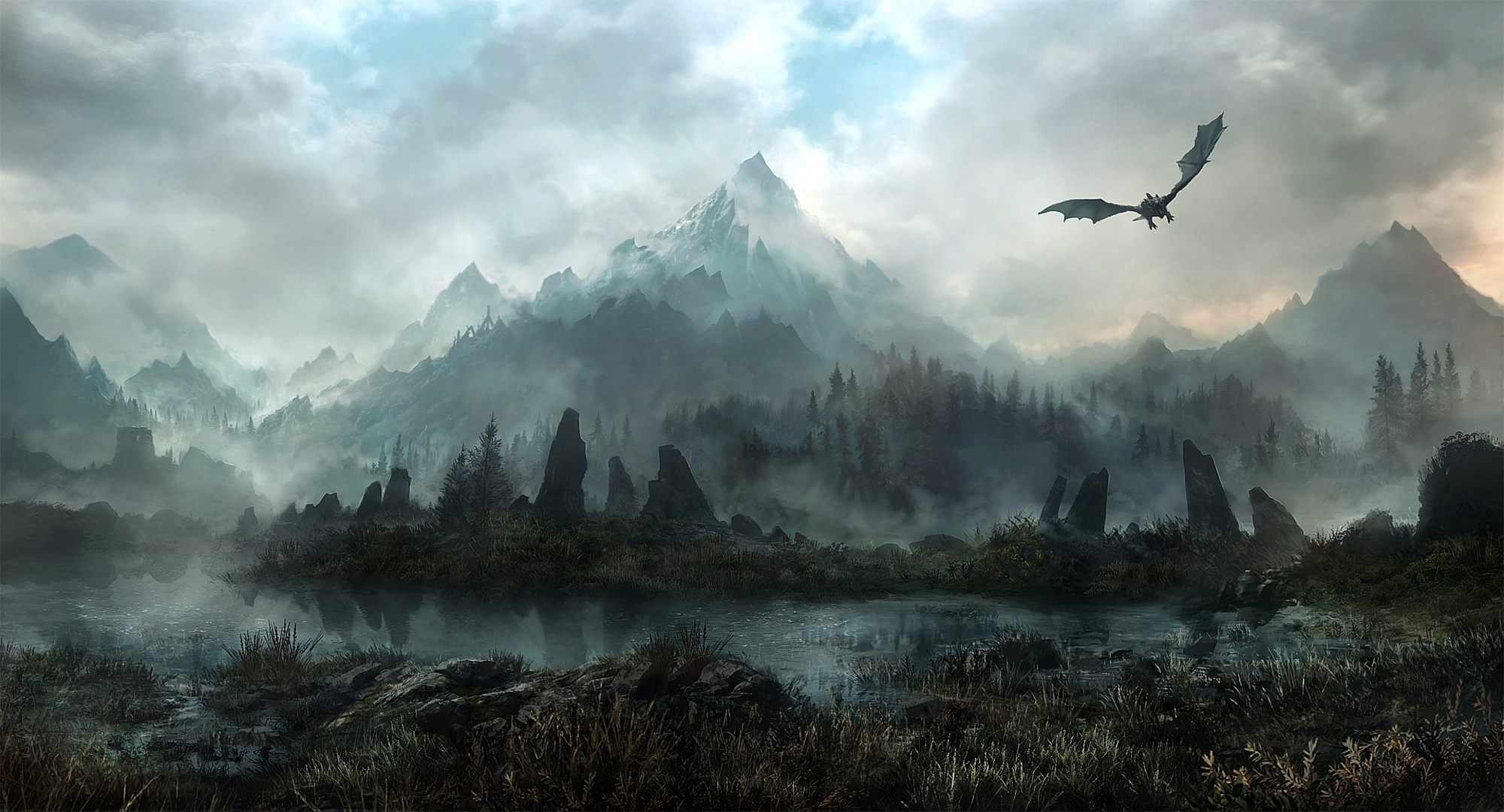 landscapes elder scrolls skyrim fantasy dragons flight mountains sky