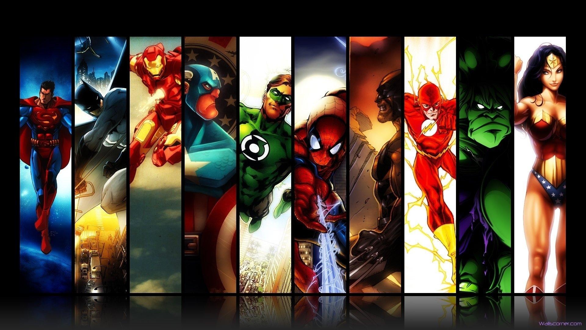 marvel dc comics superman batman iron man spider-man green lantern