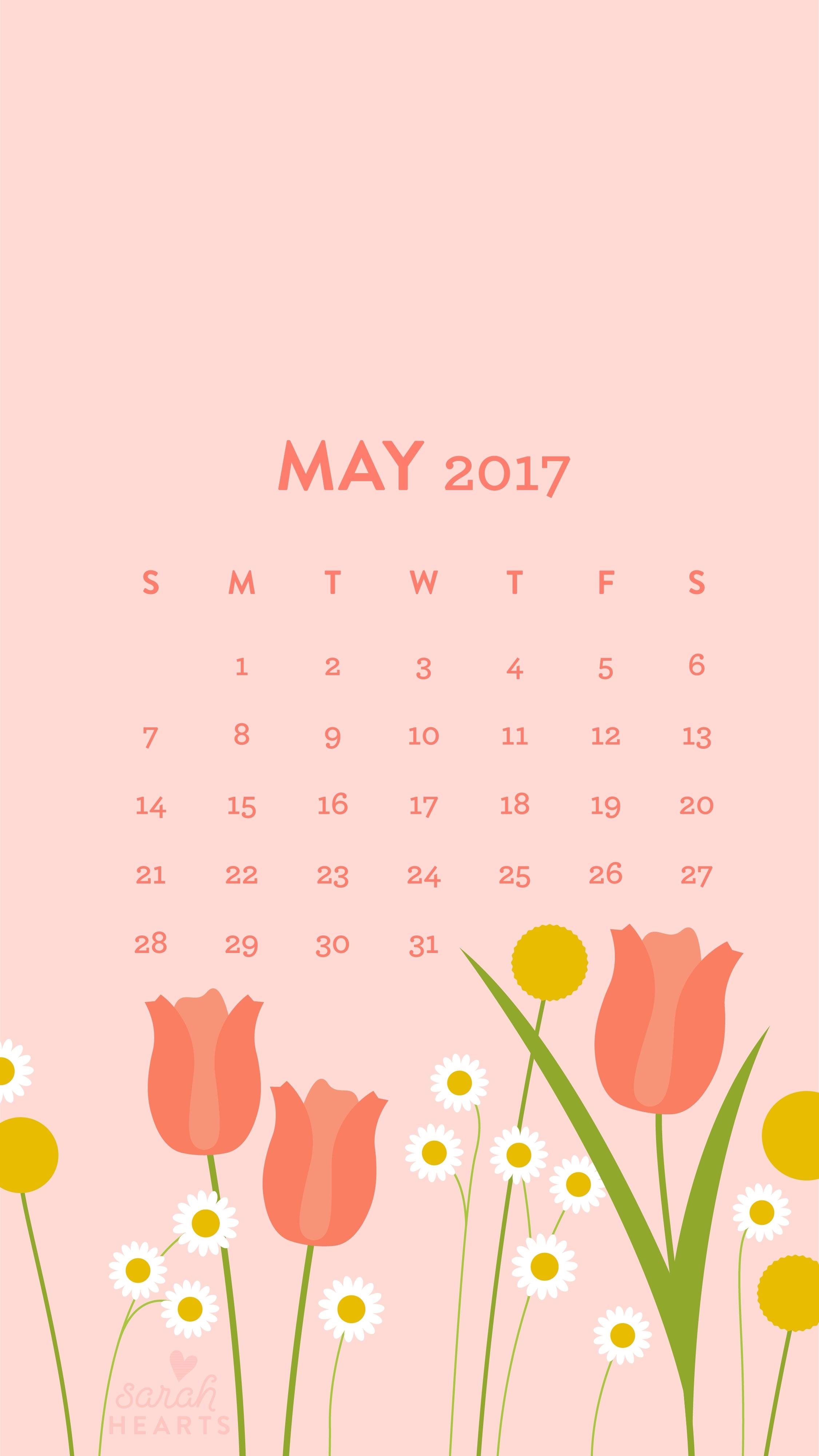 may 2017 calendar wallpaper - sarah hearts
