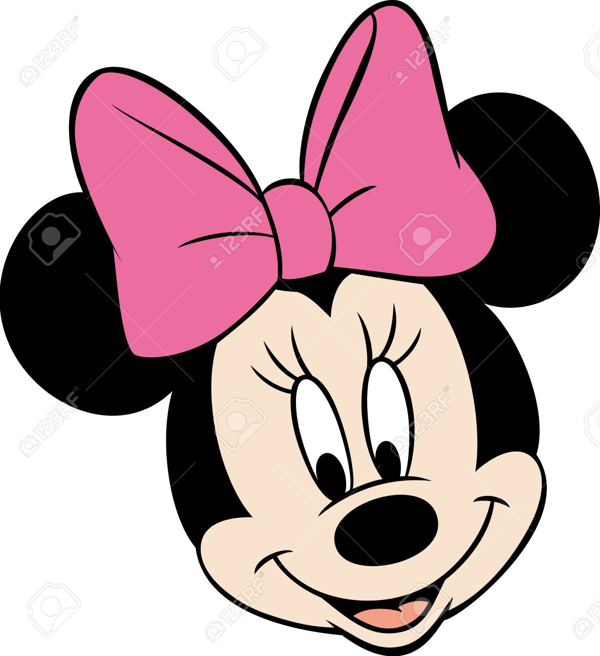 minnie mouse head pink happy smile cartoon illustration stock photo