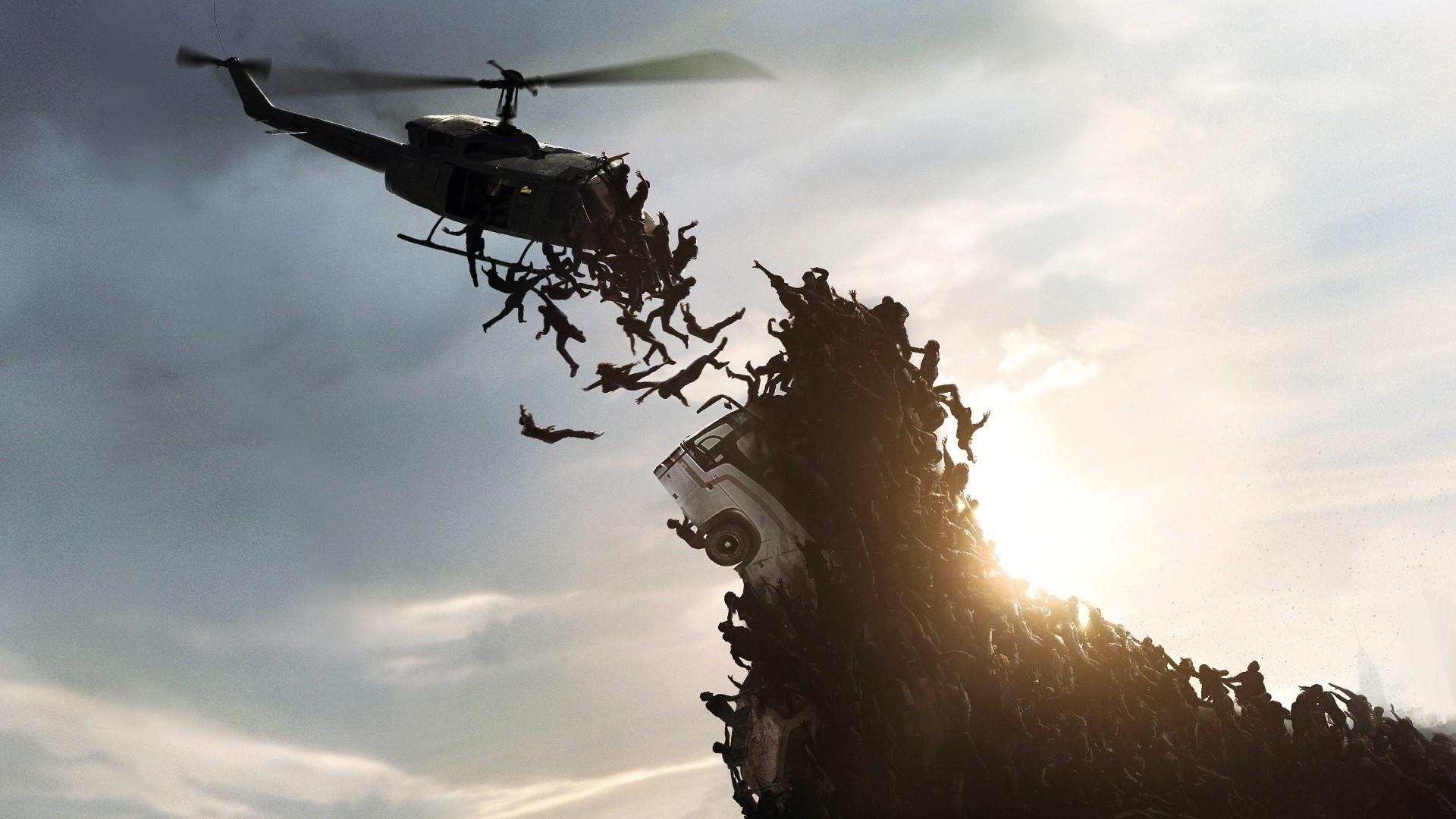 monde war z tomber ciel apocalypse zombie papier peint