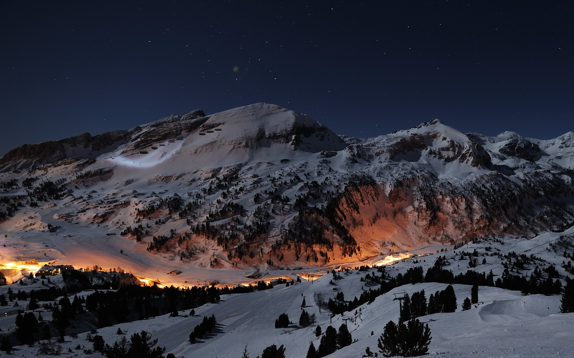 mountains: winter stars snow night mountains lights trees nature