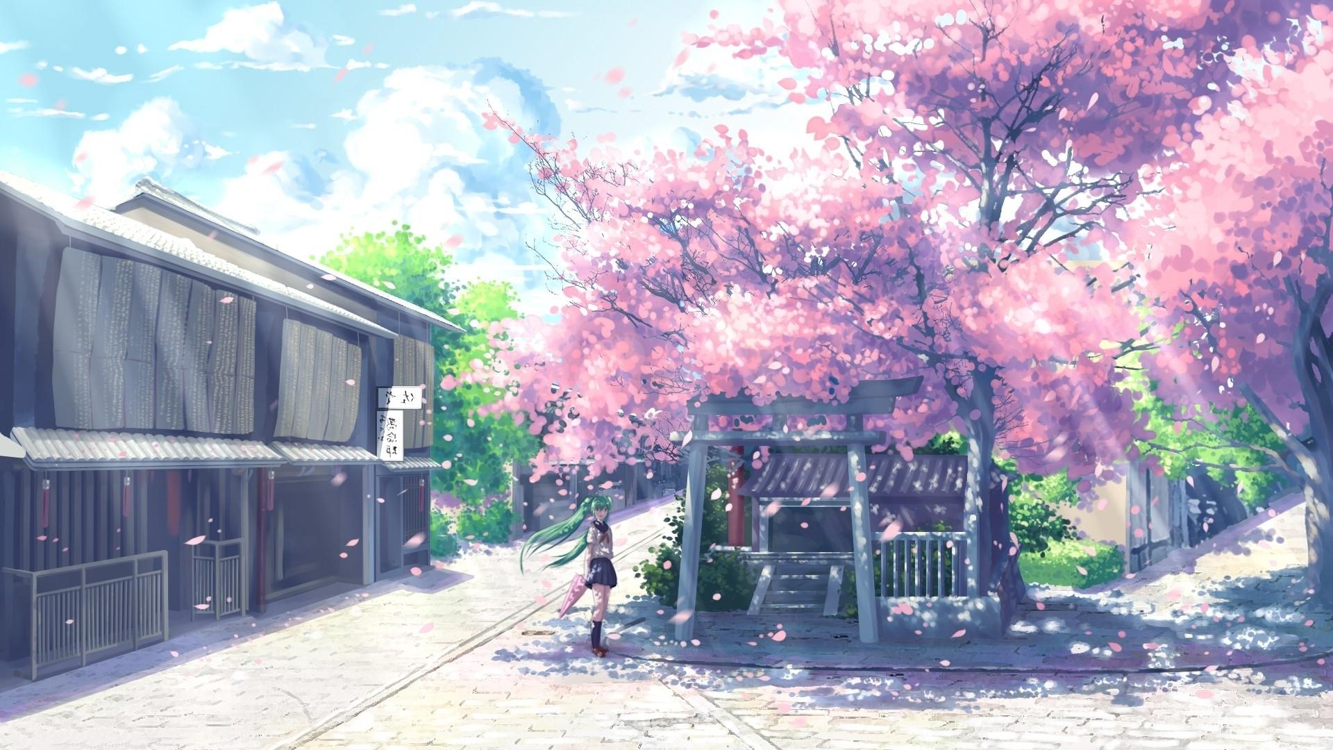 new cherry blossom wallpaper desktop 1920x1080 anime design - anime