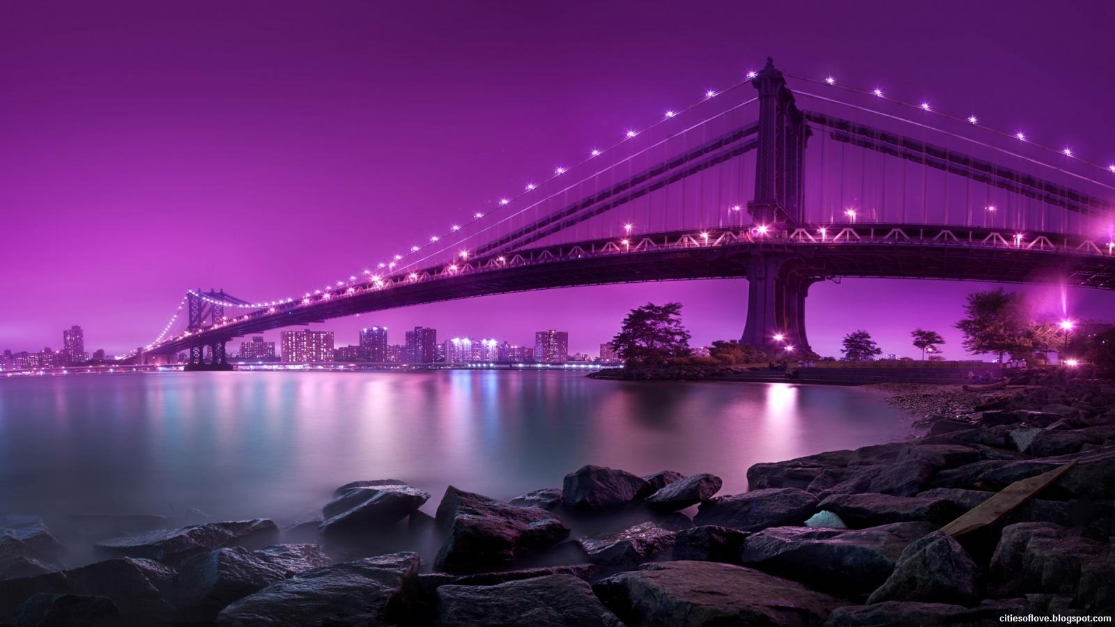 new york city manhattan bridge purple night united states of