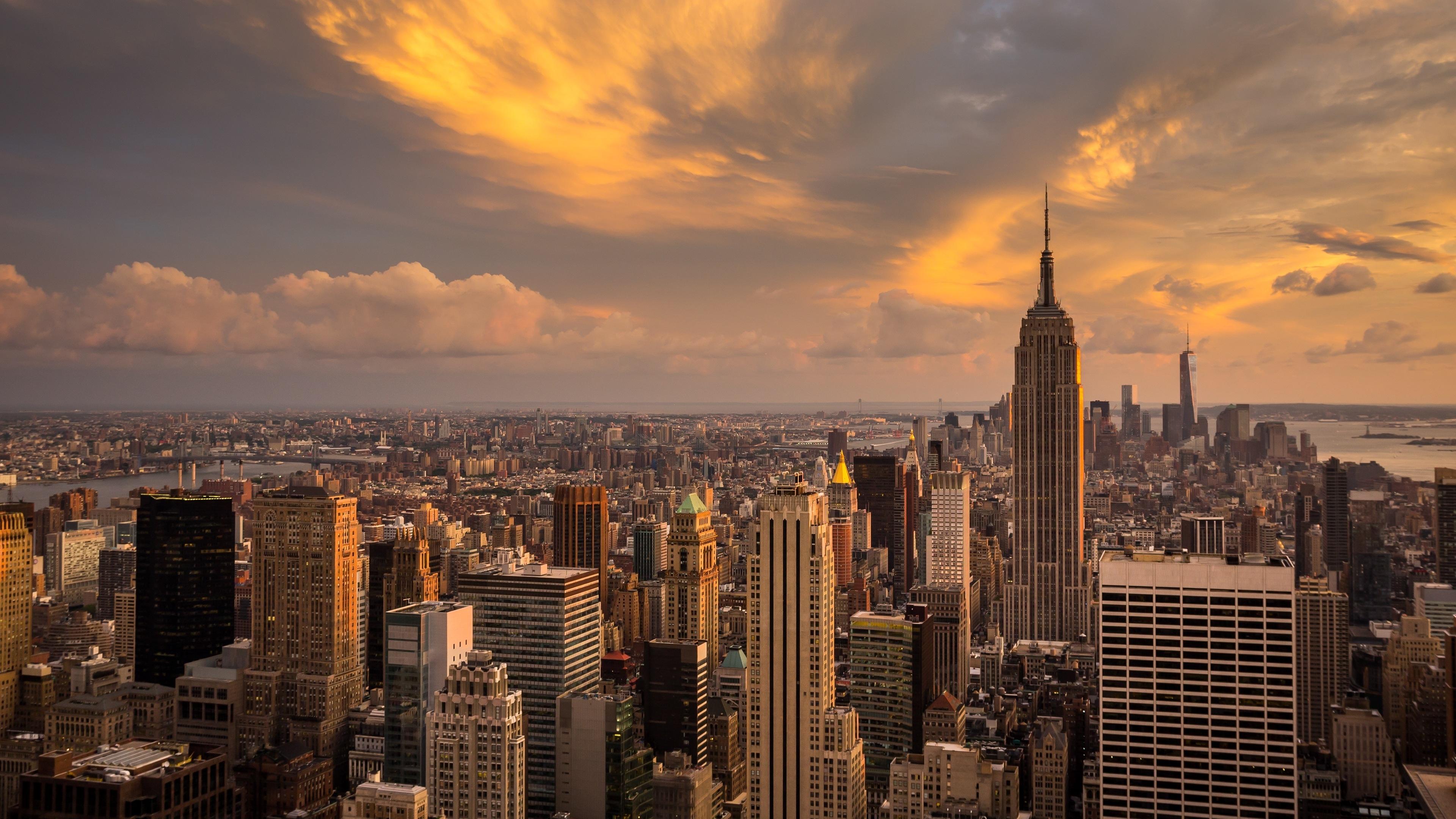 new york city manhattan sunset 4k ultra hd desktop wallpaper