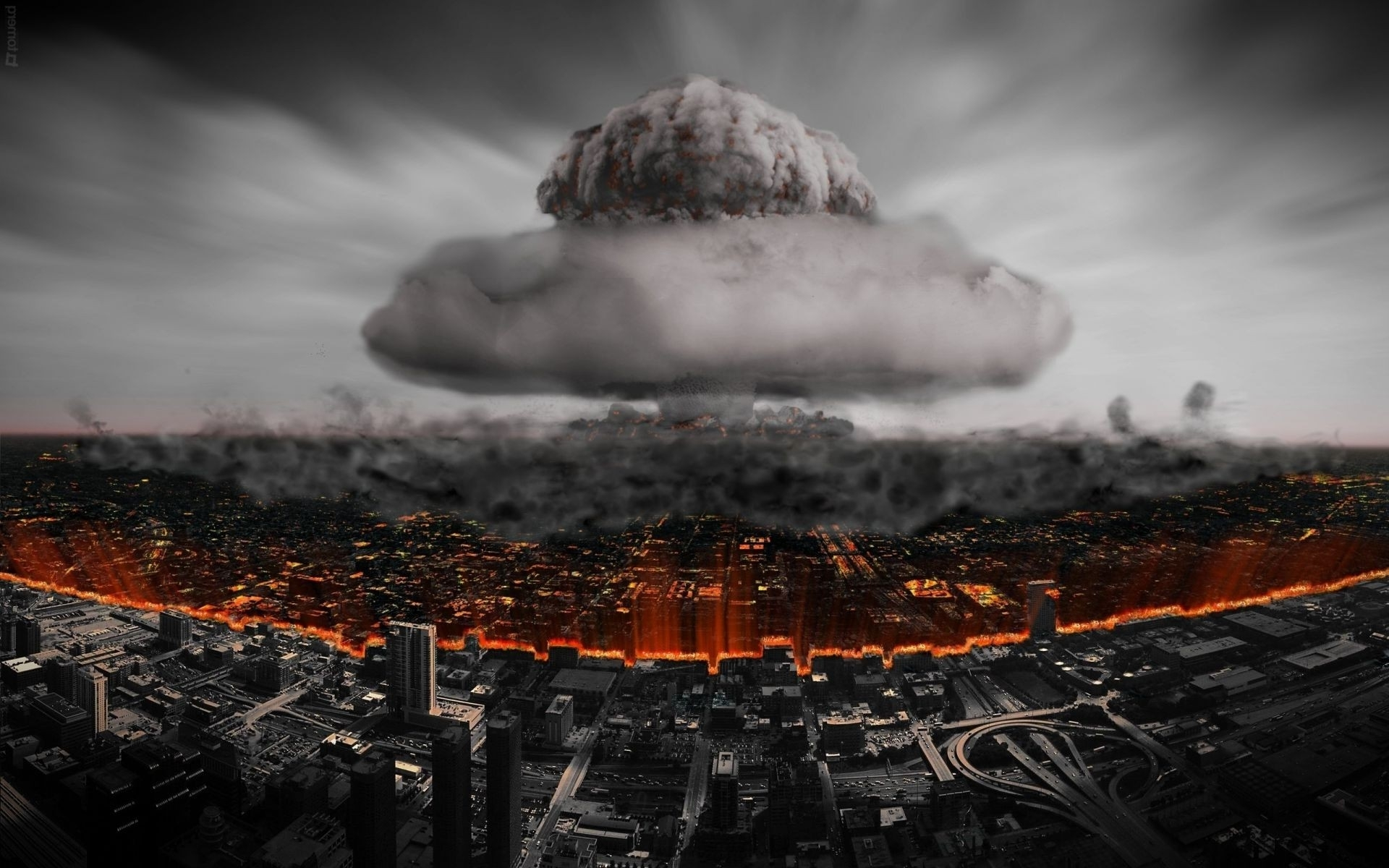 nuclear explosion atomic bomb city. android wallpapers for free.