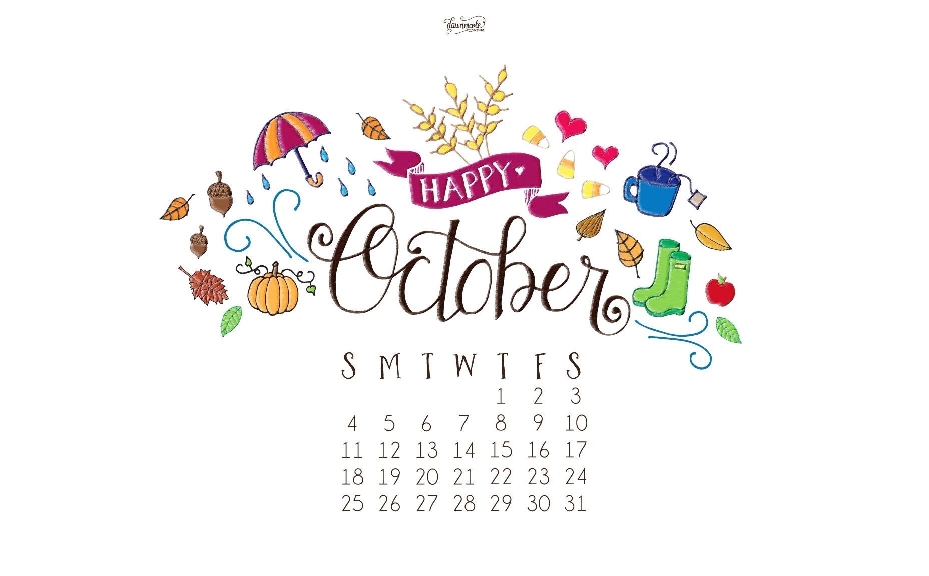 october calendar print + desktop wallpaper   dawn nicole designs®