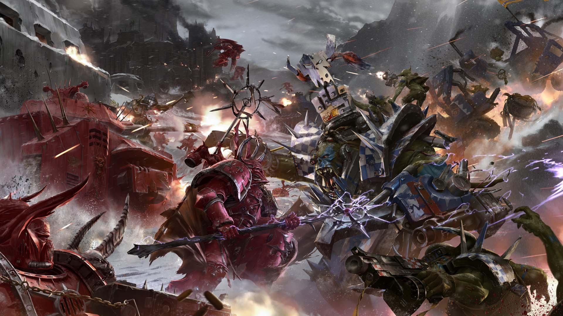 orcs vs chaos space marines. wallpaper from warhammer 40k: eternal