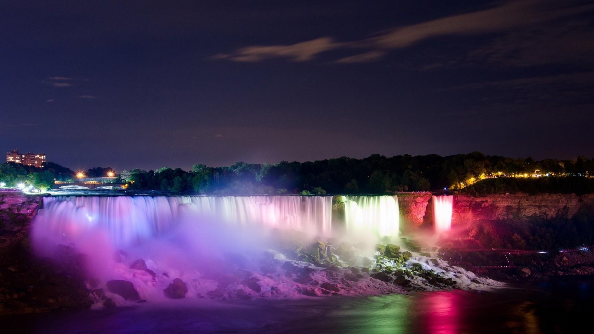 paysages légers nuit niagara falls couleurs de cascades papier peint