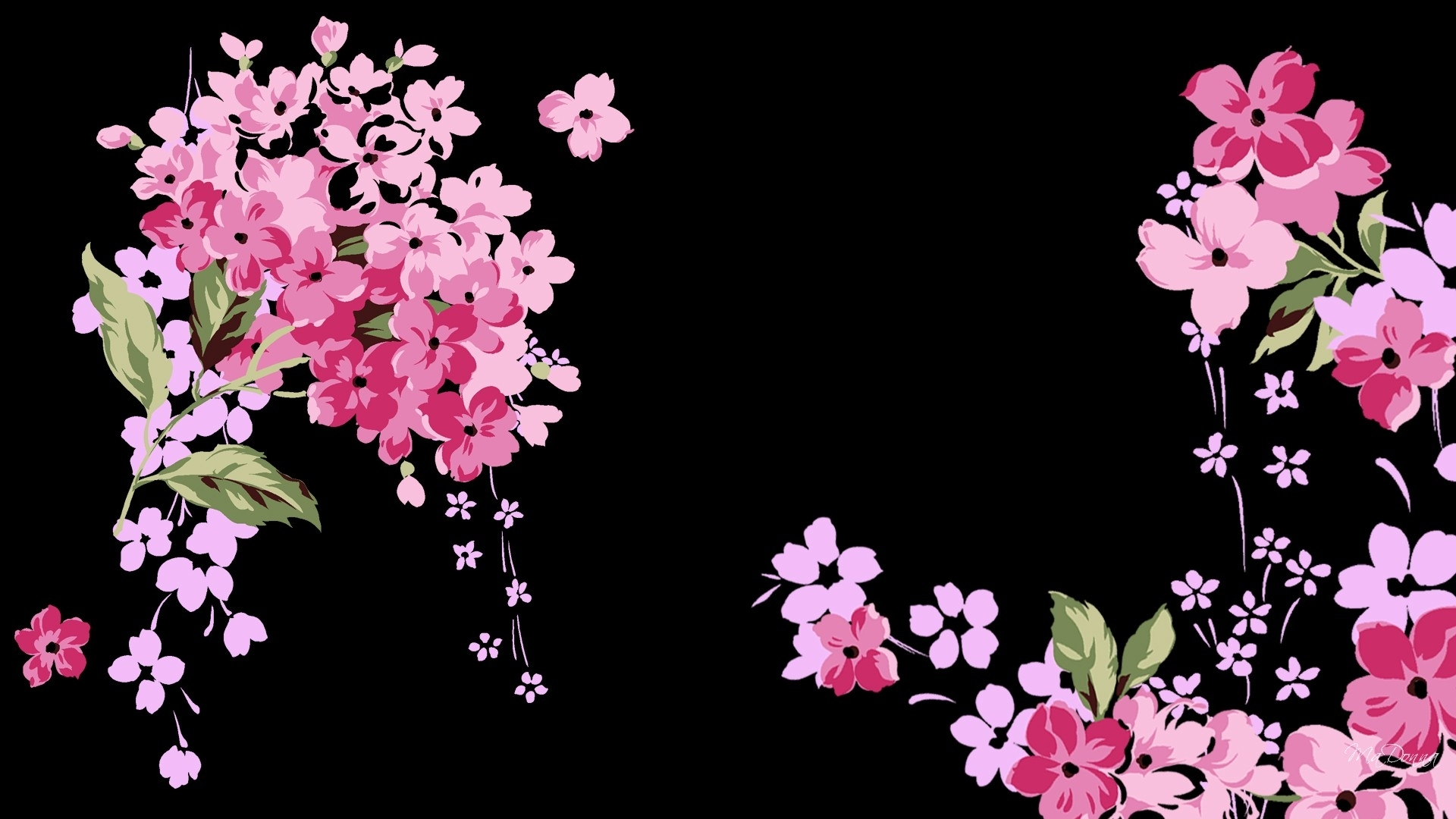 pink and black flower wallpaper - wallpaper dekstop