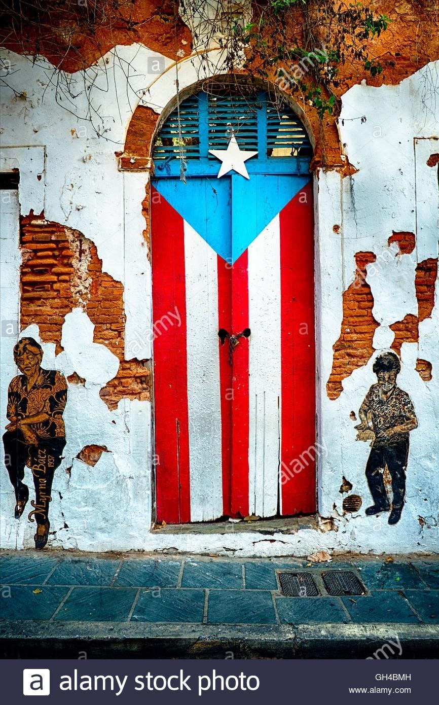 puerto rican flag door, calle san jose, old san juan, puerto rico