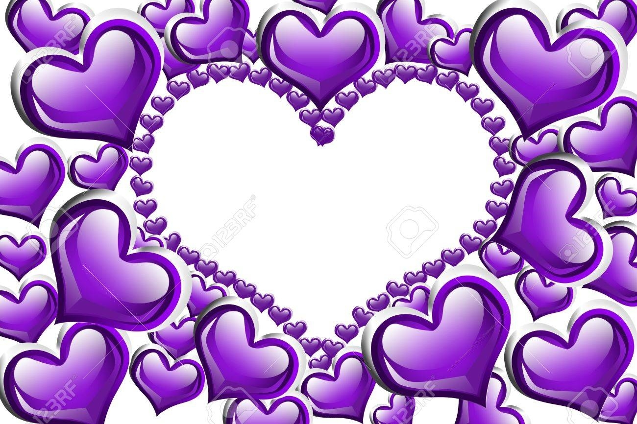 purple hearts with a copy-space of a heart shape isolated on.. stock