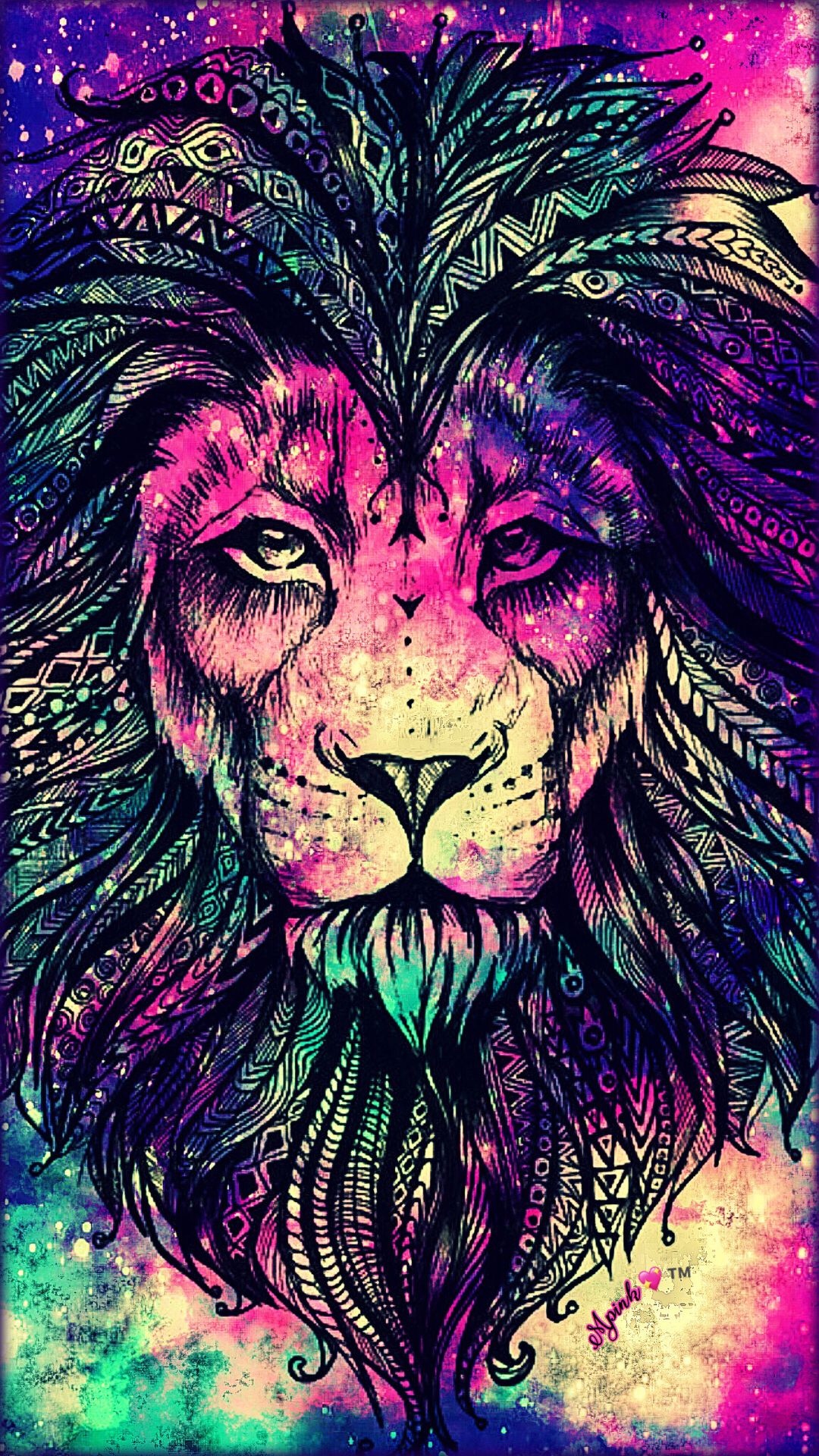 rainbow lion galaxy wallpaper #androidwallpaper #iphonewallpaper