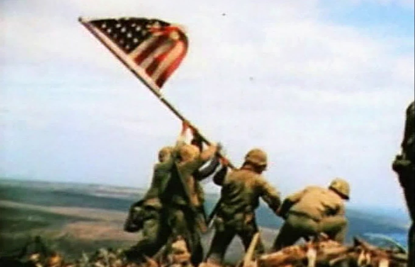 raising the flag on iwo jima – slow motion - youtube