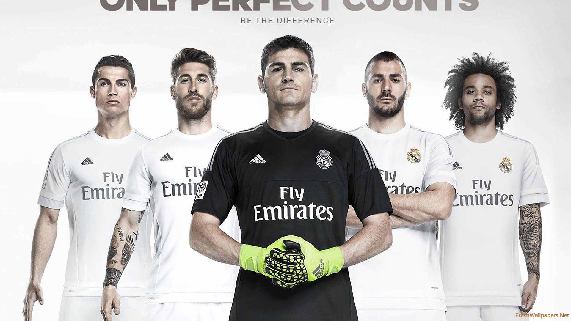 real madrid cf 2015-2016 adidas home kit wallpapers | freshwallpapers