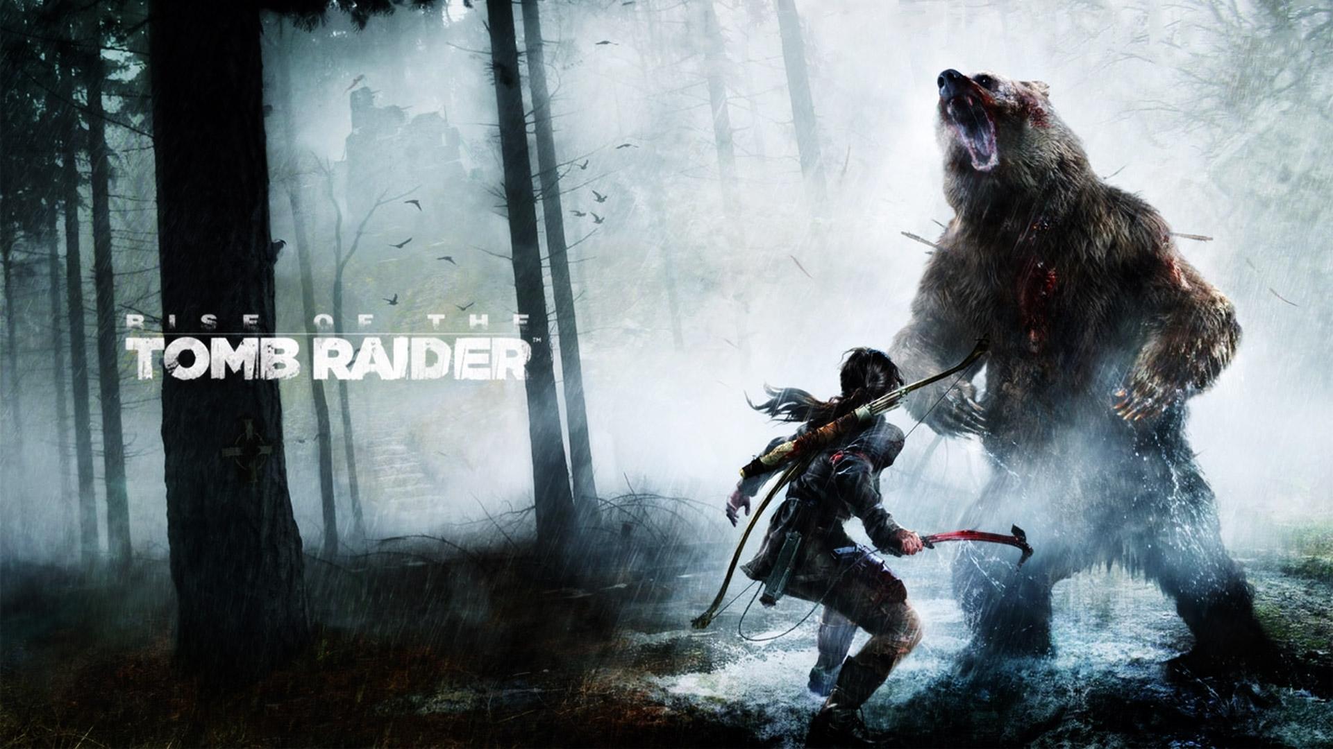 rise of the tomb raider bear fight desktop wallpaper