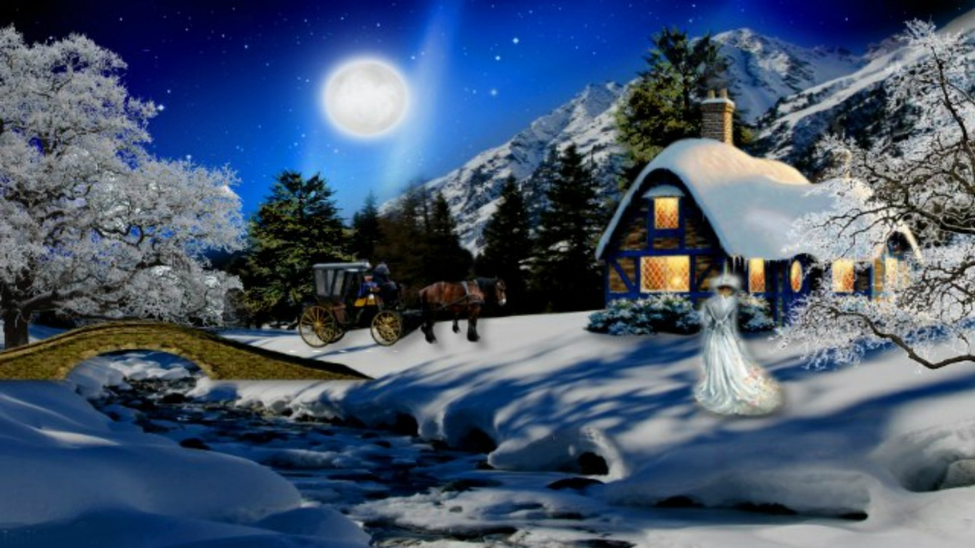 romantic winter night wallpapers photo » outdoors wallpaper 1080p