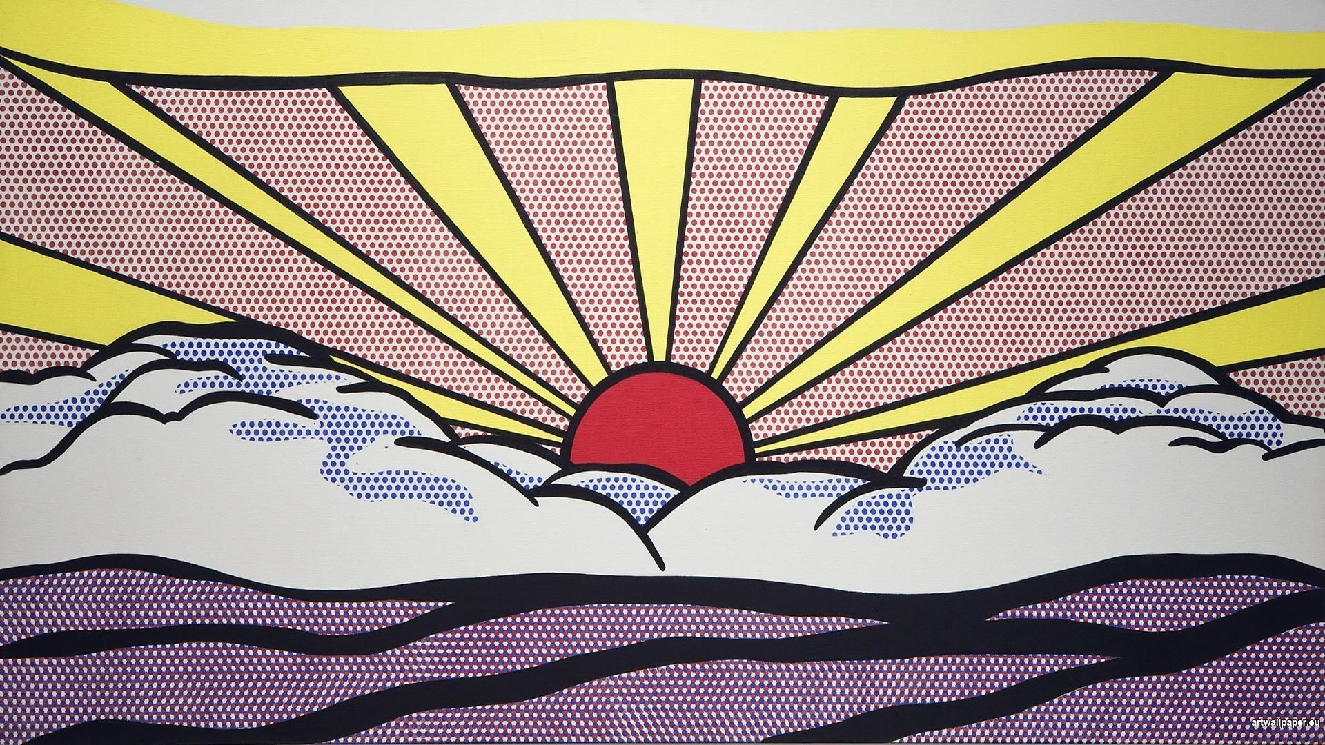 roy lichtenstein artwork paintings pop art sunrise wallpaper | (87626)