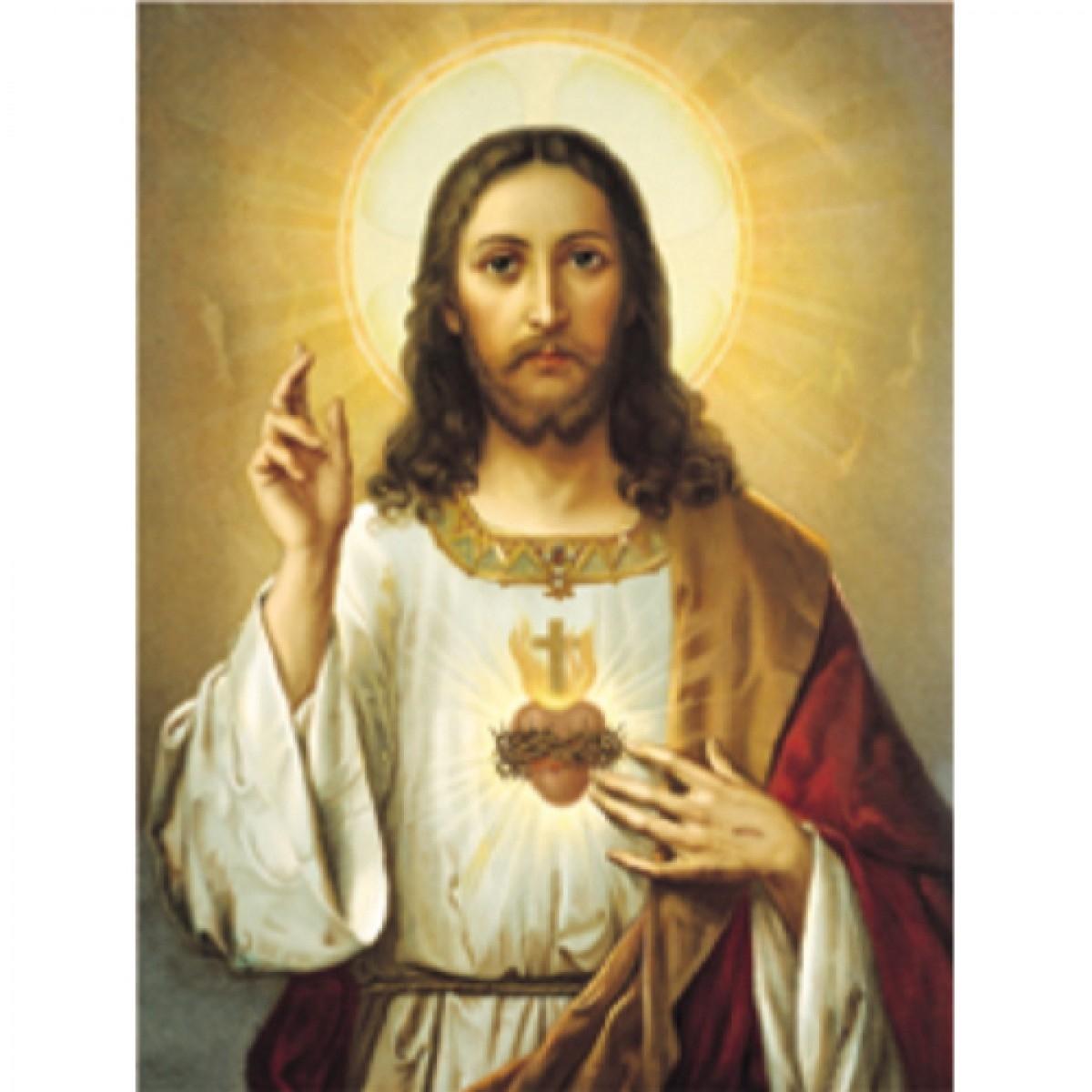 sacred heart of jesus - religious - foil engraved prints