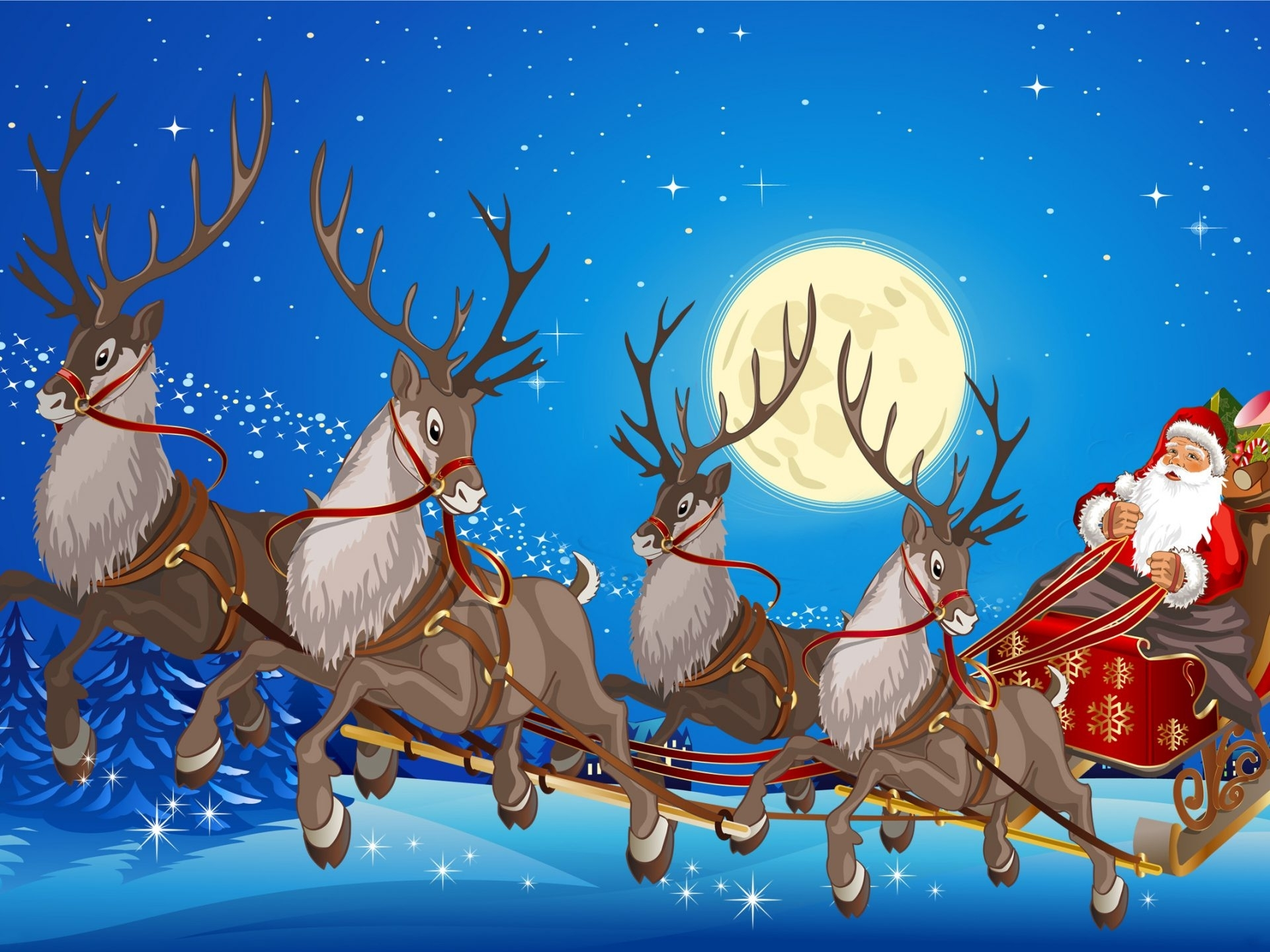 santa claus sleigh with reindeer gifts full moon desktop wallpaper