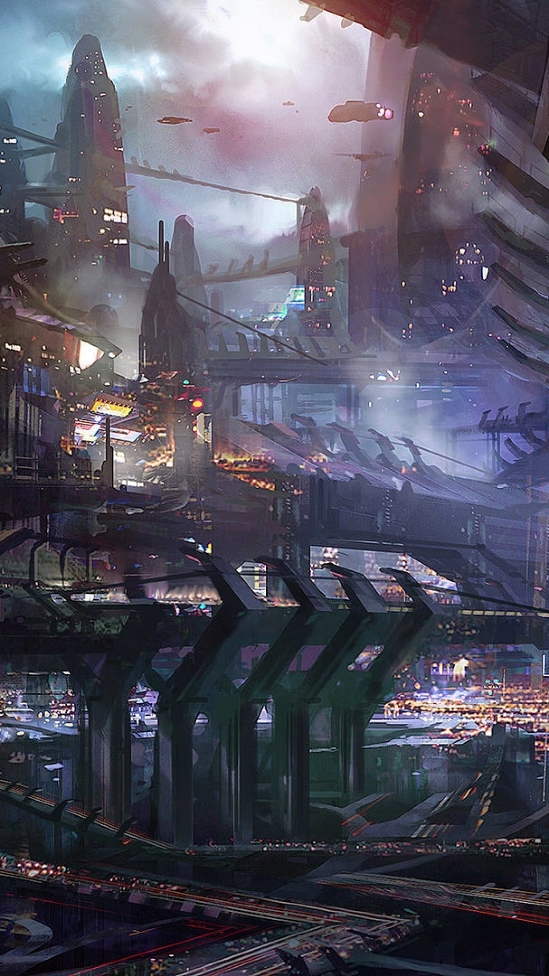 sci fi city hd android wallpaper free download
