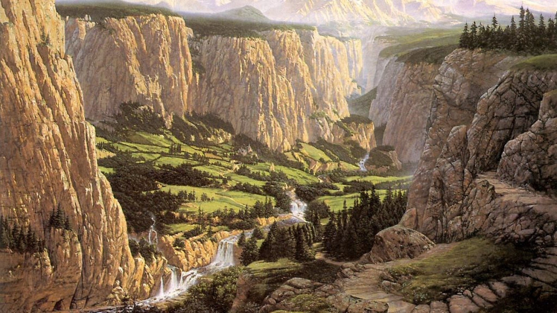 screenheaven: middle-earth rivendell ted nasmith cliffs landscapes
