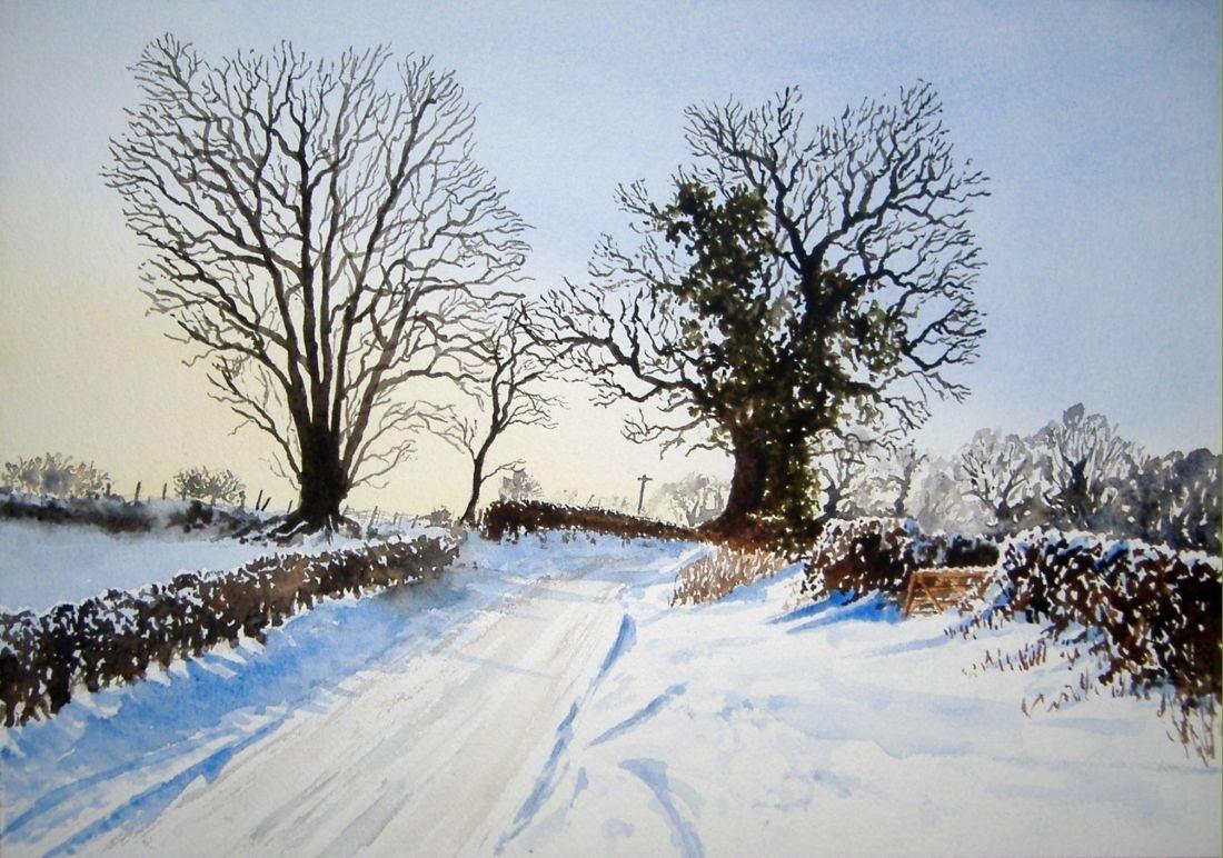 snow scenes - jons watercolours -jon webster